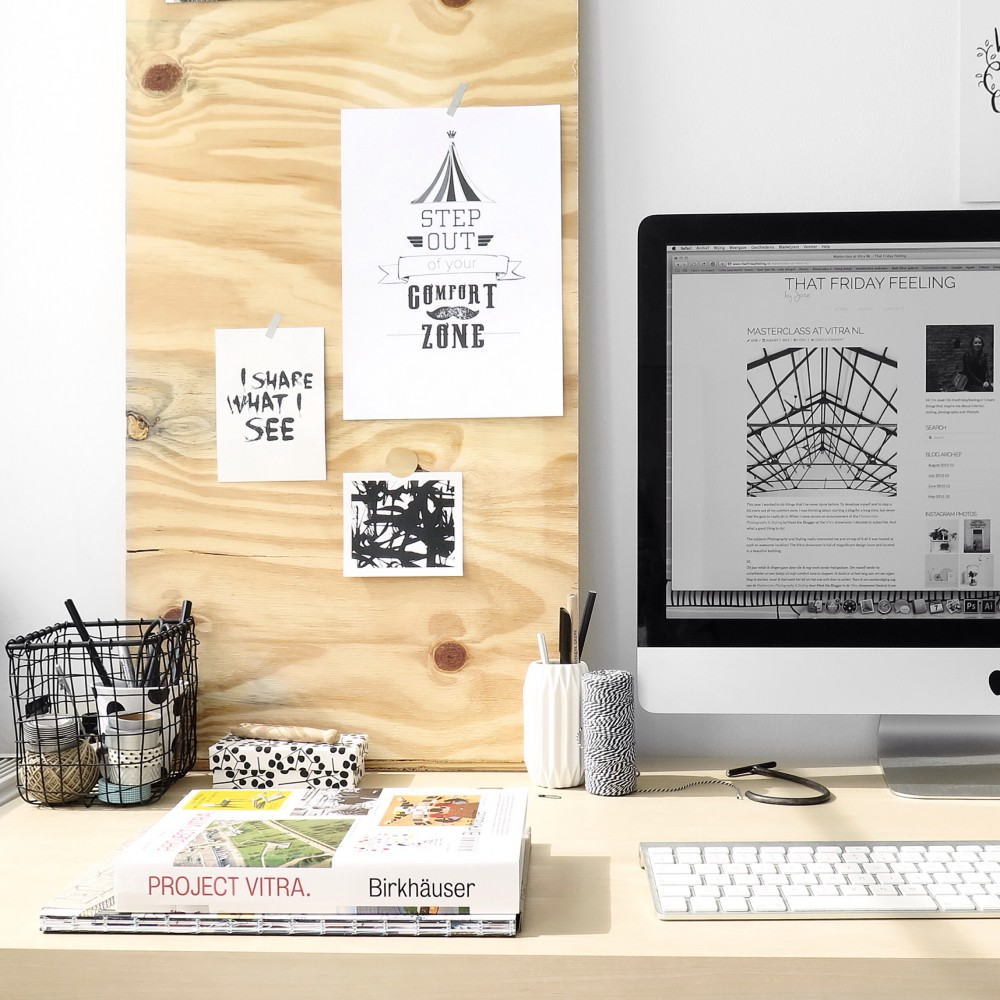 Workspace with underlayment inspiration board