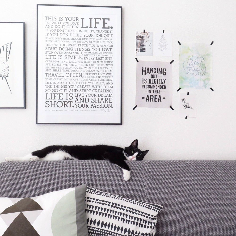 Graphic prints in our living room with a very lazy cat!