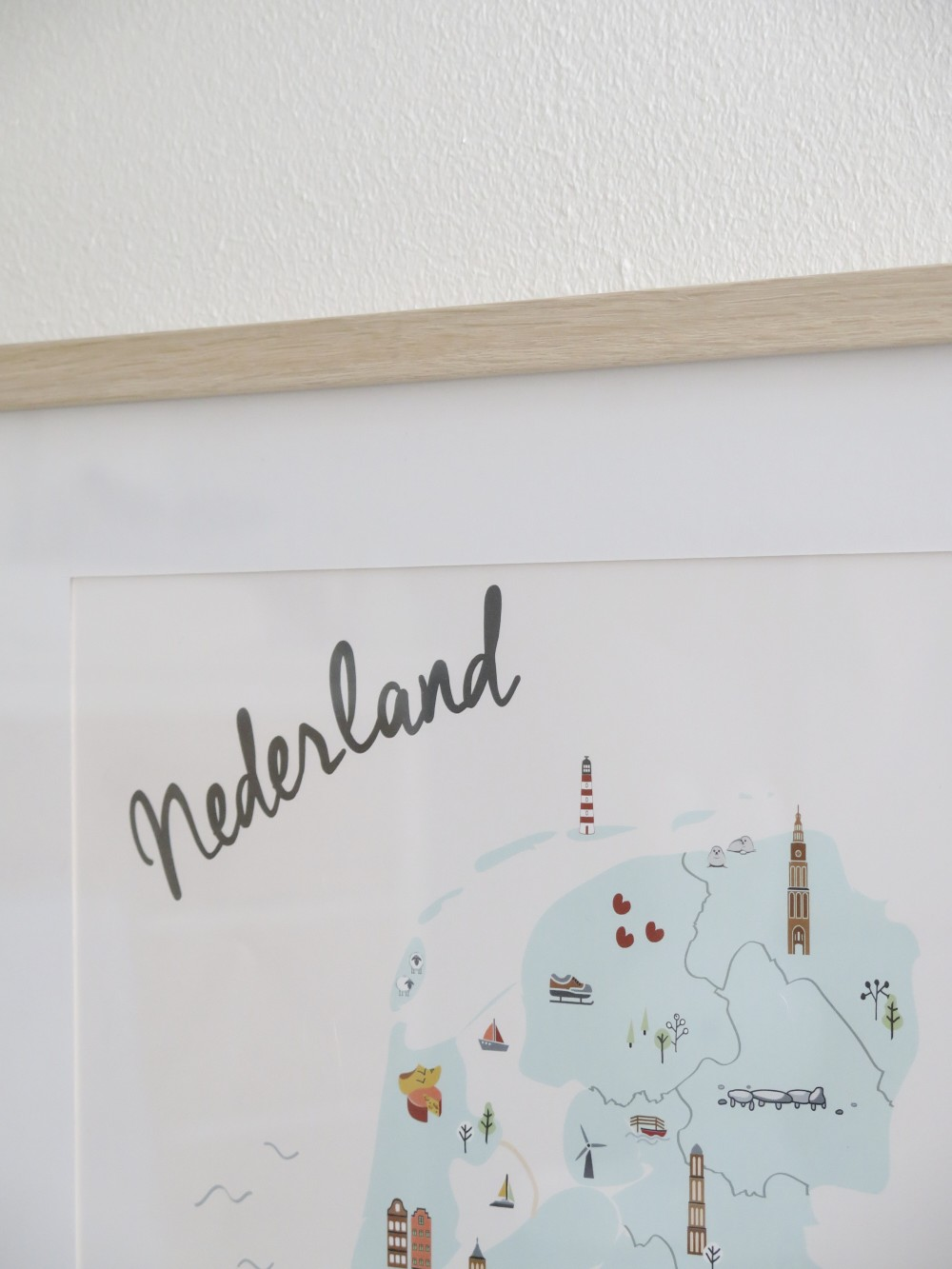 Close-up kaart Nederland kinderkamer